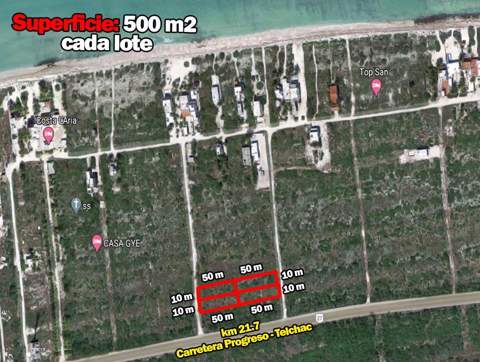 Foto Terreno en Venta en  Mérida ,  Yucatán  4 Terrenos Laterales Sup 500 m2  Zona Telchac San Benito
