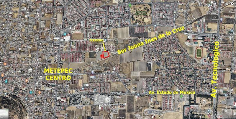 Foto Terreno en Venta en  Santa Cruz,  Metepec  Terreno en Venta en avenida Sor Juana antes Ignacio Allende
