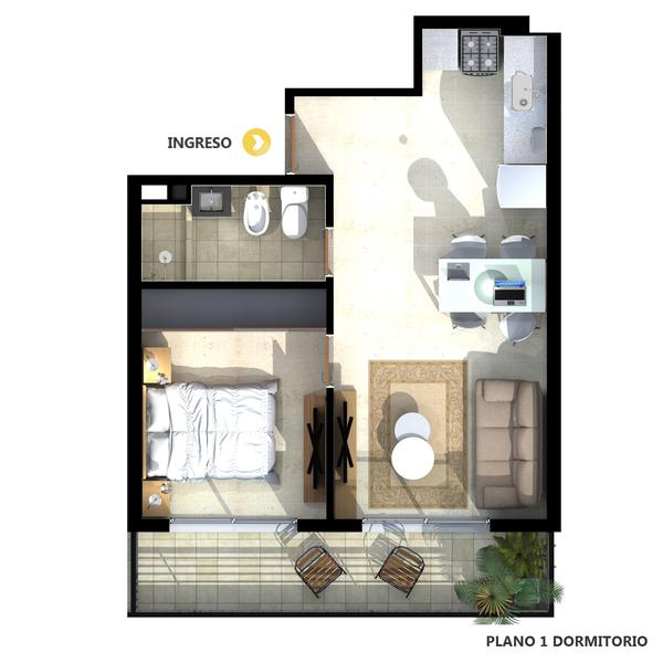 venta departamento 1 dormitorio Rosario, PARAGUAY AL 300 - Roma. Cod CBU23332 AP2200191 Crestale Propiedades