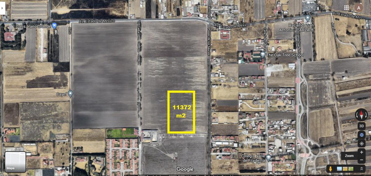 Foto Terreno en Venta en  Metepec ,  Edo. de México  Terreno para desarrolladores de 11,372 m2 en calle Sauces  Metepec