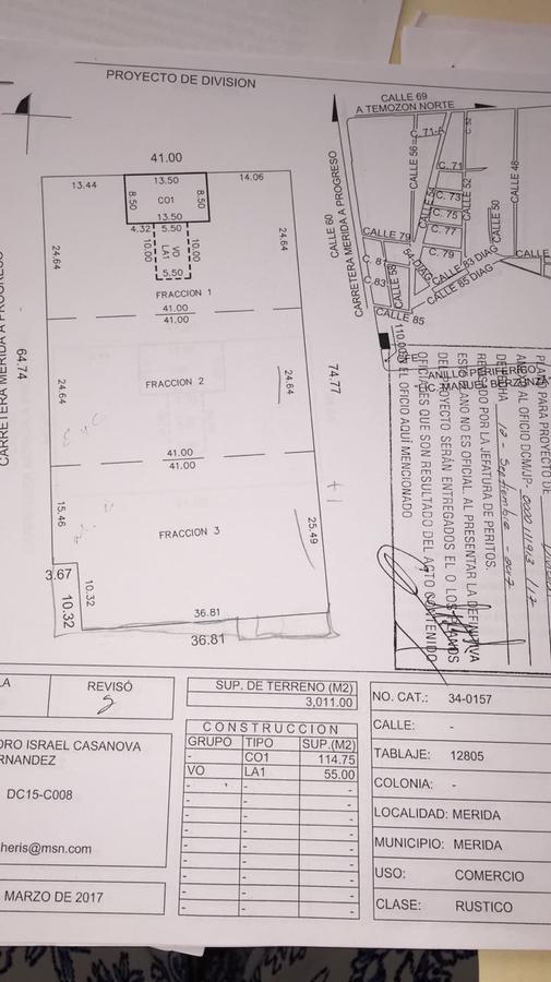 Foto Terreno en Renta en  Pueblo Temozon Norte,  Mérida          terreno en excelente ubicacion carretera progreso . se vende en partes (12x40mts) o completo