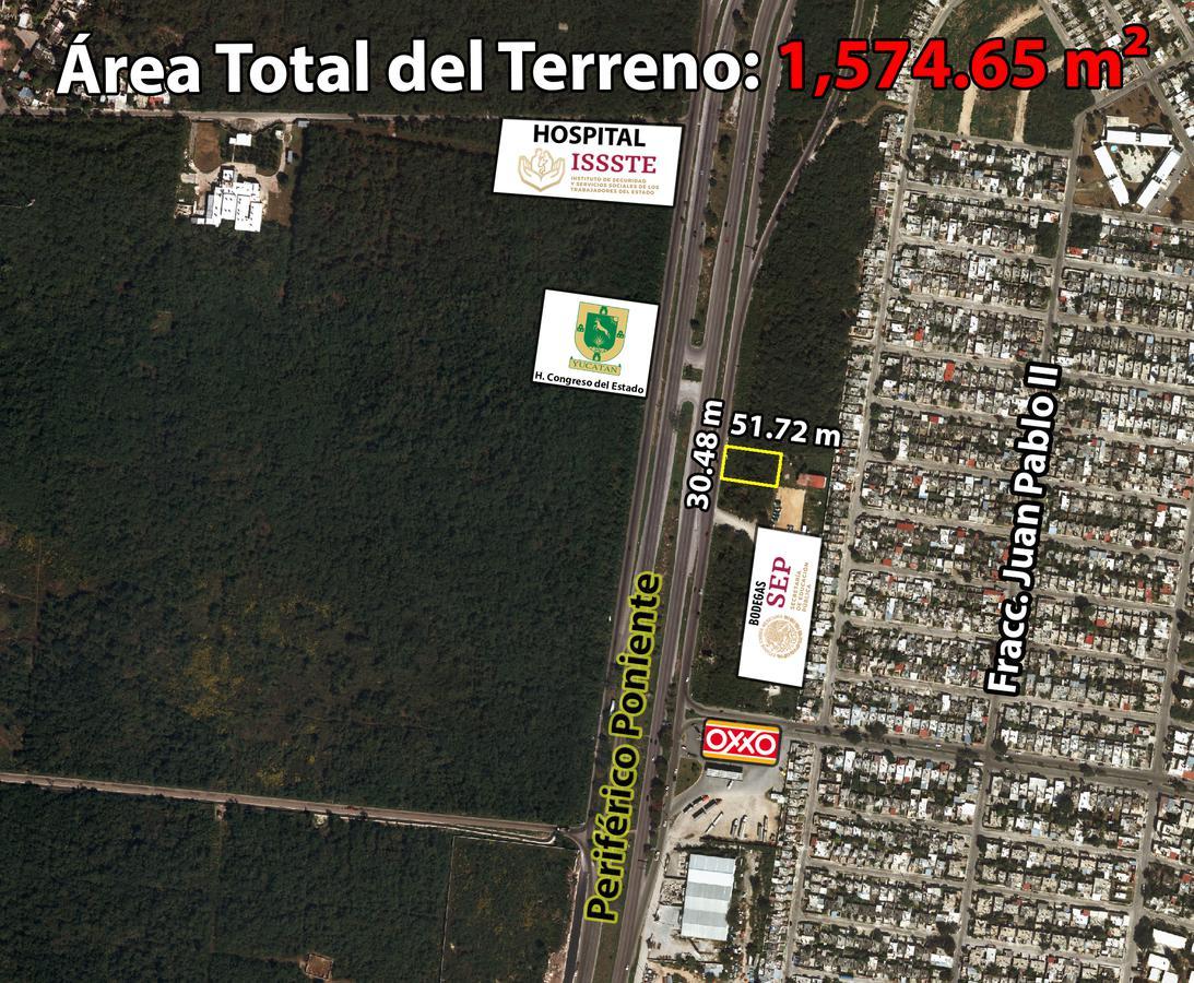 Foto Terreno en Venta en  Fraccionamiento Juan Pablo,  Mérida  Terreno De 1,574.65 m2 En Periférico Poniente