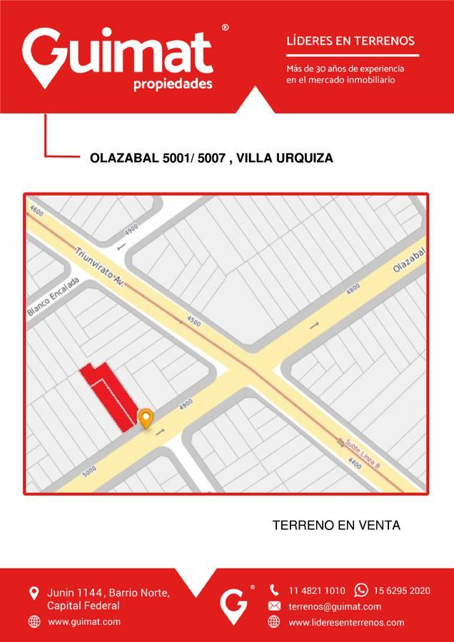 Foto Terreno en Venta en  Villa Urquiza ,  Capital Federal  OLAZABAL 5001/07