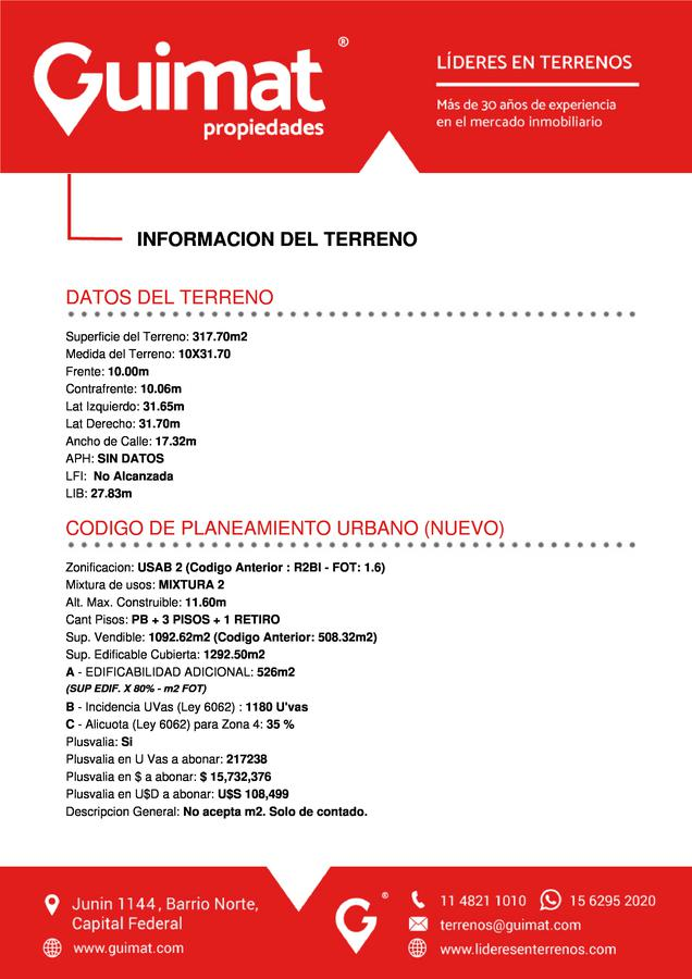 Foto Terreno en Venta en  Nuñez ,  Capital Federal  VUELTA DE OBLIGADO al 3900