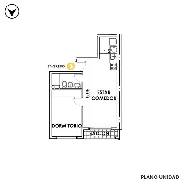 venta departamento 1 dormitorio Rosario, MENDOZA 1800. Cod CBU35008 AP3539579 Crestale Propiedades