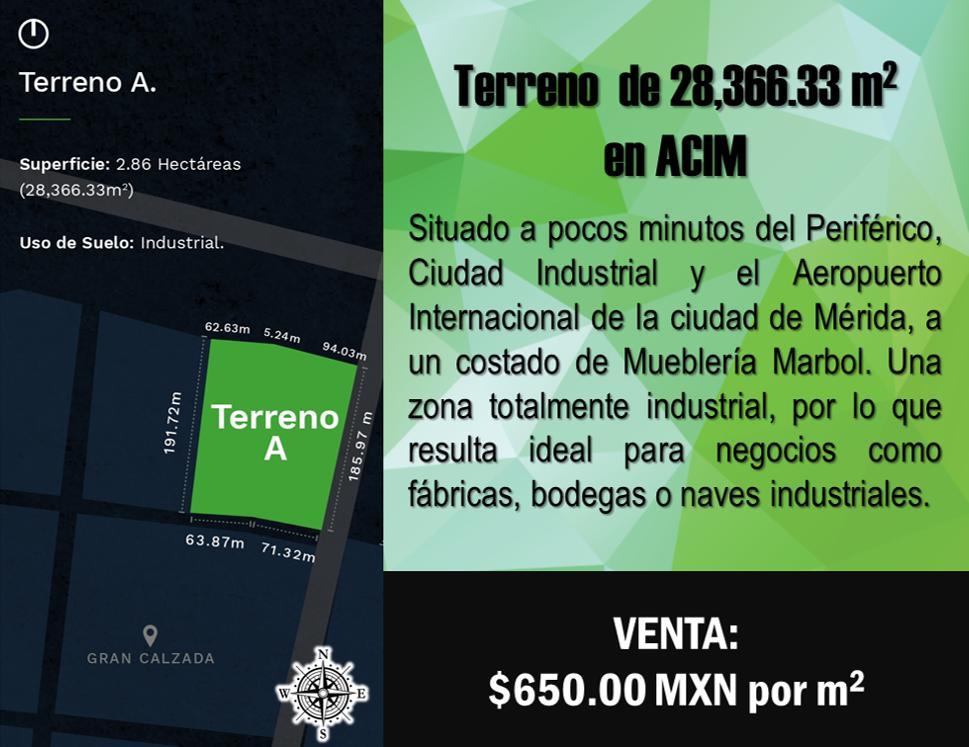 Foto Terreno en Venta en  Accim,  Umán  Terreno de 2.8 hectáreas en ACIM, Mérida (Zona Industrial).