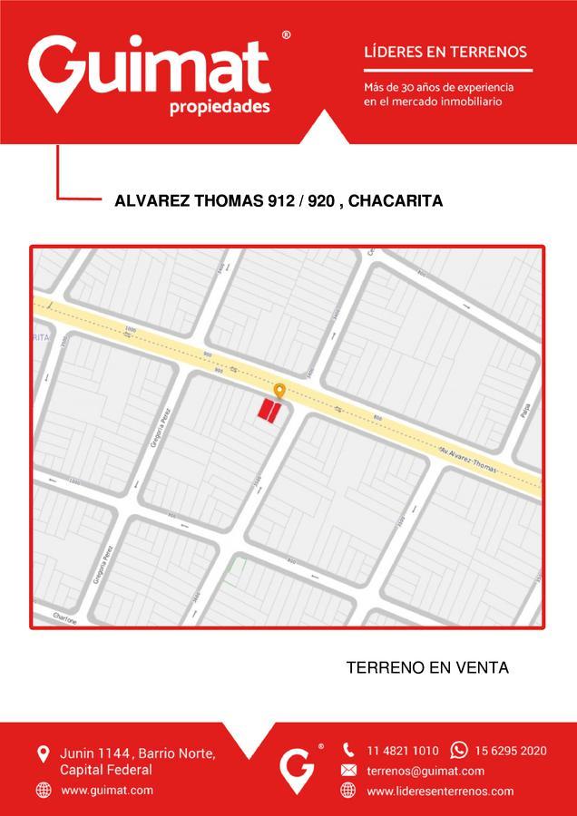 Foto Terreno en Venta en  Chacarita ,  Capital Federal  ALVAREZ THOMAS al 900