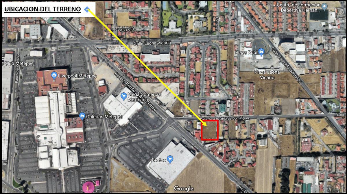 Foto Terreno en Venta en  Coaxustenco,  Metepec  Terreno Comercial en Venta en Av. Josefa Ortiz de Dominguez Metepec