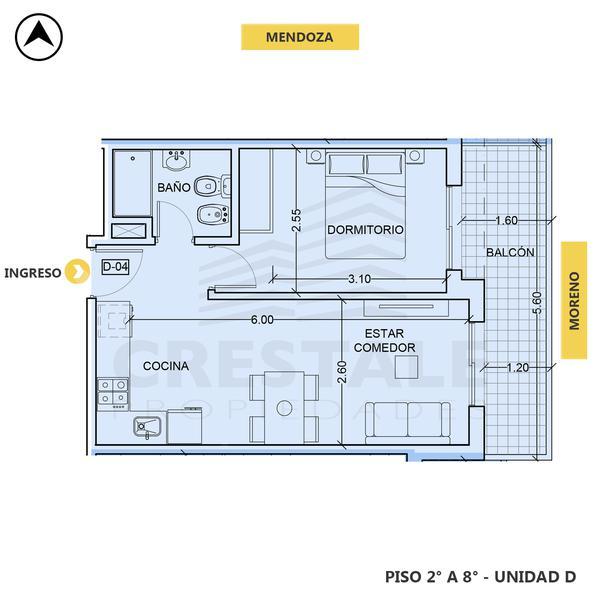 venta departamento 1 dormitorio Rosario, MENDOZA Y MORENO. Cod CBU34676 AP3509187 Crestale Propiedades