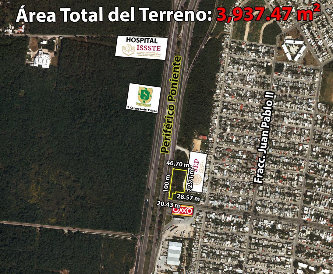 Foto Terreno en Venta en  Fraccionamiento Juan Pablo,  Mérida  Terreno De 3937.47 m2 En Periférico Poniente