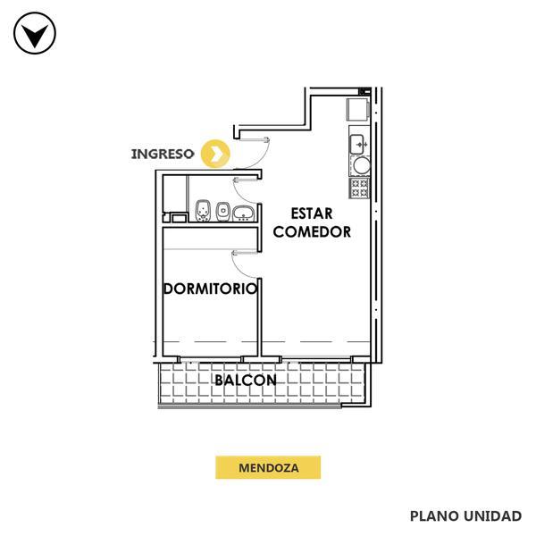 venta departamento 1 dormitorio Rosario, MENDOZA 1800. Cod CBU35008 AP3538876 Crestale Propiedades