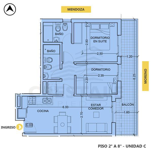venta departamento 2 dormitorios Rosario, MENDOZA Y MORENO. Cod CBU34676 AP3509138 Crestale Propiedades