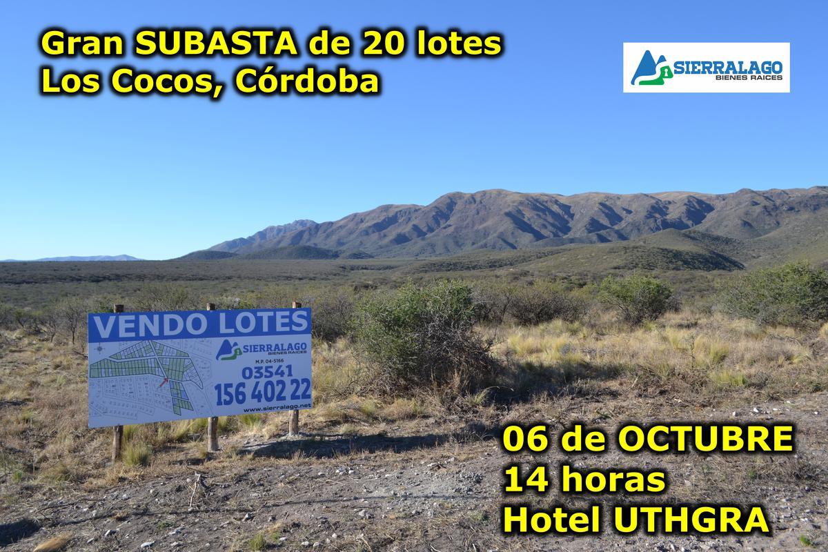 Foto Terreno en Venta en  Los Cocos,  Punilla  REMATE de 20 LOTES en Los Cocos - 06 DE OCTUBRE -  14 horas - HOTEL UTHGRA, Los Cocos.