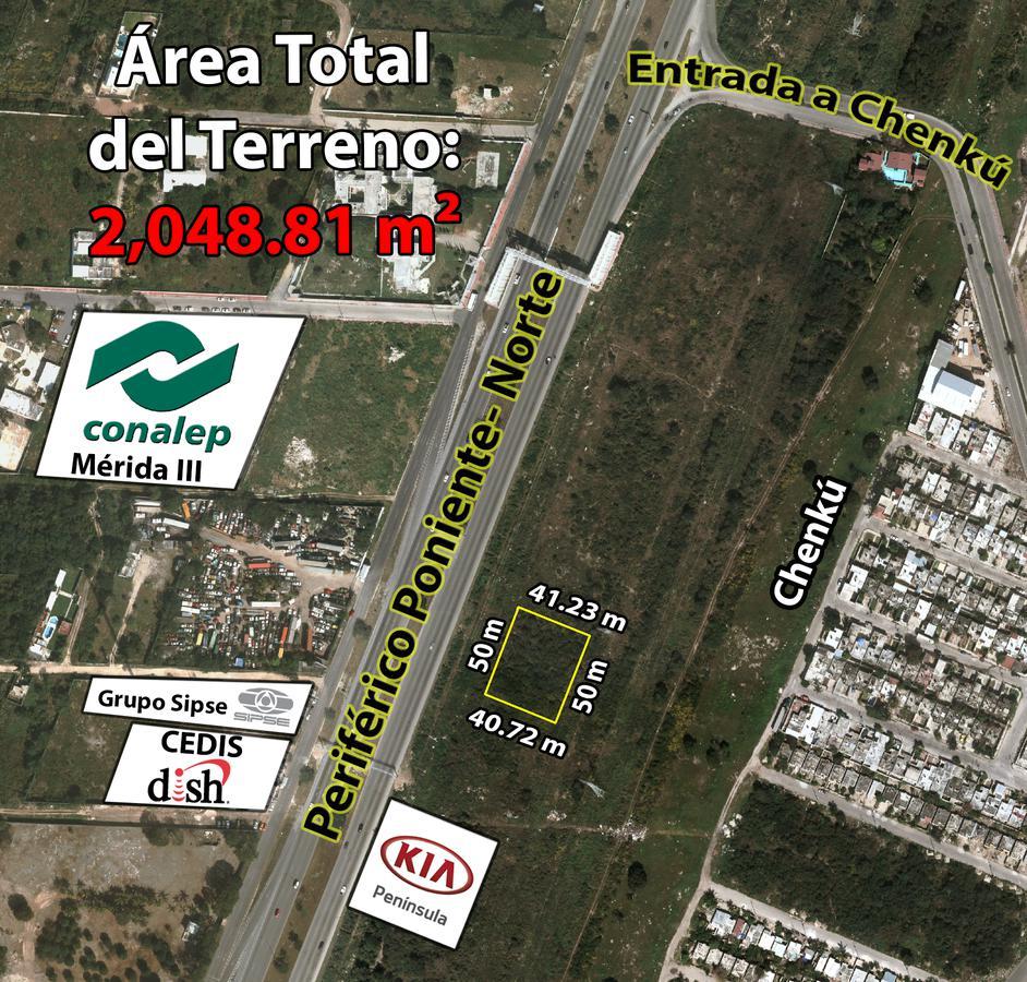 Foto Terreno en Venta en  Residencial Chenku,  Mérida  Terreno de 2,049 m2 en Periférico Poniente-Norte (Zona Chenkú) en Renta