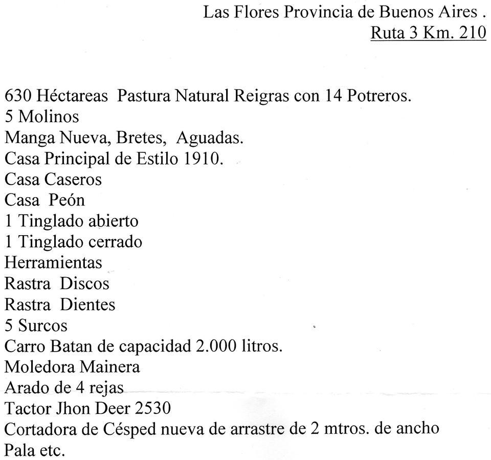 Foto Chacra en Venta en  Doctor Domingo Harosteguy,  Las Flores  LAS FLORES K 210 DE LA  RUTA 3 CUARTEL VIII
