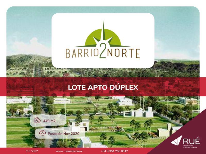 Foto Terreno en Venta en  Norte 2,  Cordoba Capital  Lote en venta en Barrio Norte 2 442 mts2 apto duplex, pagado 100%