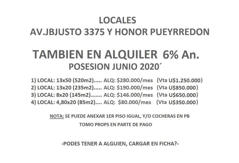 Foto Local en Venta en  Villa Crespo ,  Capital Federal  Juan B. Justo y H. Pueyrredon, Villa Crespo