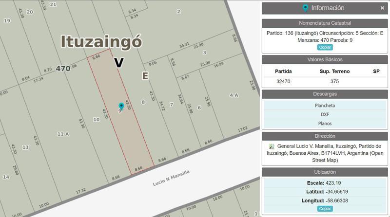 Foto Terreno en Venta en  Ituzaingó ,  G.B.A. Zona Oeste  Mansilla al 500