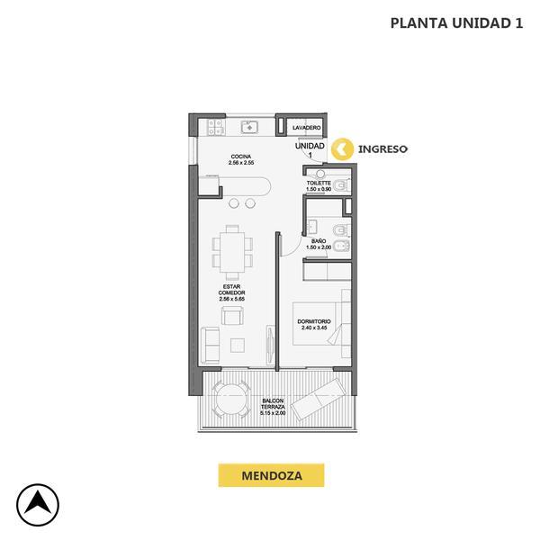 venta departamento 1 dormitorio Rosario, MENDOZA Y CALLAO. Cod CBU29102 AP2674620 Crestale Propiedades