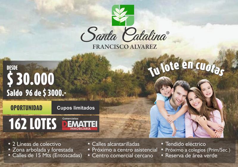 Foto Terreno en Venta en  Francisco Alvarez,  Moreno  Anticipo lote $ 30.000 Gualeguay y Neuquén - Lotes - Francisco Alvarez- Santa Catalina