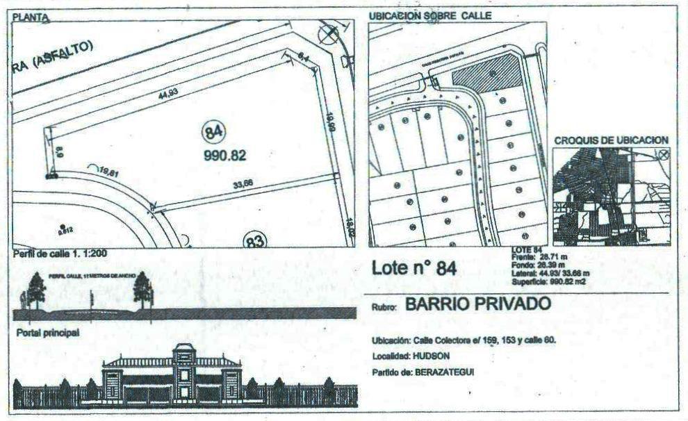 Foto Terreno en Venta en  Las Acacias,  Berazategui  AU Buenos Aires La Plata Km. 35.5, Las Acacias de Hudson, Lote 84