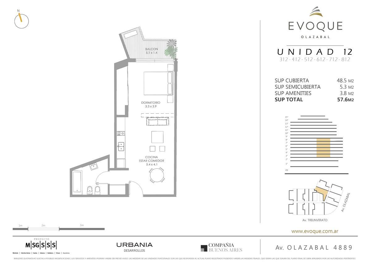 Foto Departamento en Venta en  Villa Urquiza ,  Capital Federal  AV. OLAZABAL ESQ. AV. TRIUNVIRATO 8º 12