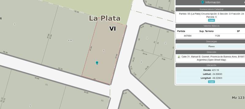 Foto Terreno en Venta en  Manuel B Gonnet,  La Plata  495 esquina 31