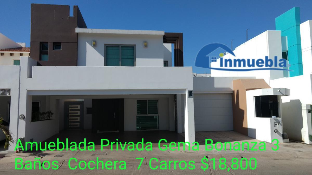 Foto Casa en Renta en  Fraccionamiento Bonanza,  Culiacán  Rento Amueblada Priv. Gema Bonanza Cochera 7 Carros 3 Mins de Forum