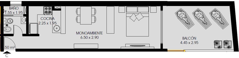 Foto Departamento en Venta en  Abasto,  Rosario  Dorrego 1700 Monoambiente con Balcón Terraza