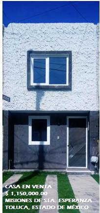 Foto Casa en condominio en Venta en  Misiones de Santa Esperanza,  Toluca  Casa en VENTA, Misiones de Santa Esperanza, Toluca, Estado de México