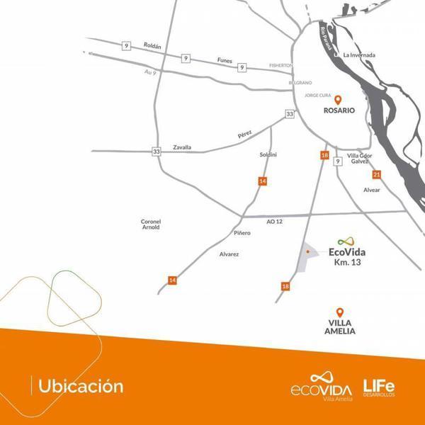 Foto Terreno en Venta en  Villa Amelia,  Rosario  EcoVida - Ruta 18 Km al 100