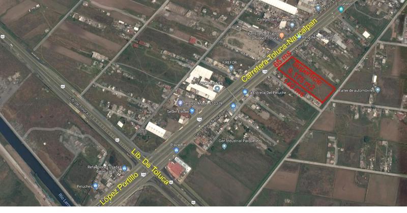 Foto Terreno en Venta en  San Blas Otzacatipan,  Toluca  Venta de Terreno sobre la carretera Toluca-Naucalpan, 9,175 m2, uso suelo CRU-333A mixto
