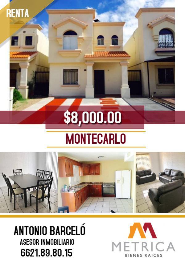 Foto Casa en Renta en  Montecarlo,  Hermosillo  CASA RENTA AMUEBLADA MONTECARLO