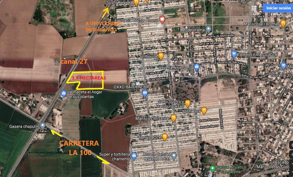Foto Terreno en Venta en  Fraccionamiento Santa María,  Guasave  EN VENTA TERRENO DE 3.5 HECTAREAS ENTRE A FRACC. SANTA MARIA Y CANAL 27, CON TITULO DE PROPIEDAD, GUASAVE.