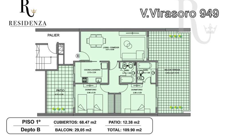 Foto Departamento en Venta en  Caballito ,  Capital Federal  Valentín Virasoro al 900. Semipiso 3amb en construcción 2º piso c/ BALCÓN TERRAZA  C/ SOLARIUM PISCINA PARRILLA