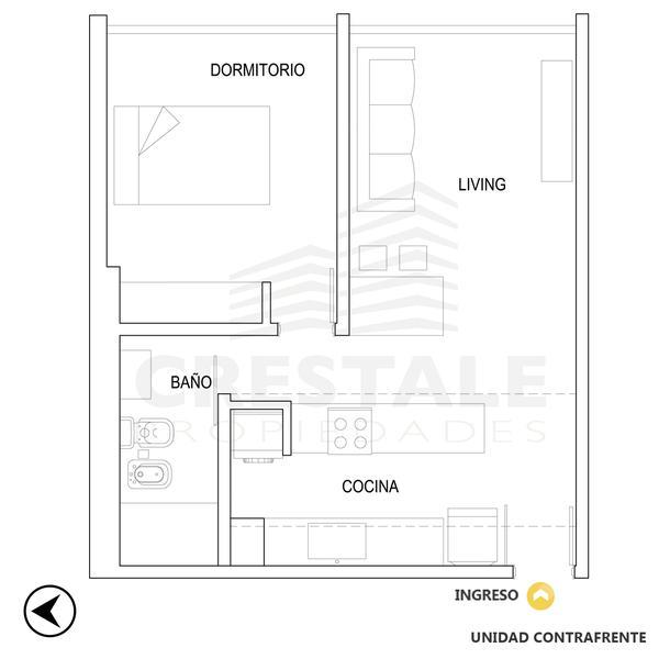 venta departamento 1 dormitorio Rosario, CHACABUCO Y CERRITO. Cod CBU11501 AP3522511 Crestale Propiedades