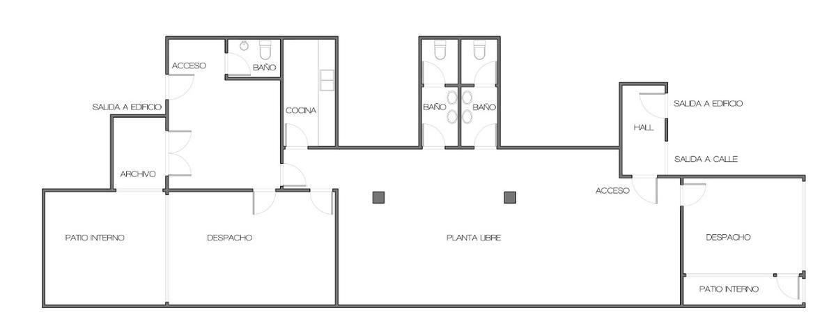 Foto Oficina en Alquiler en  Palermo ,  Capital Federal  Oficina 150 m², planta libre original con algunas divisiones en durlock 3 baños, cocina, 2 entradas, Malabia 2100 Palermo