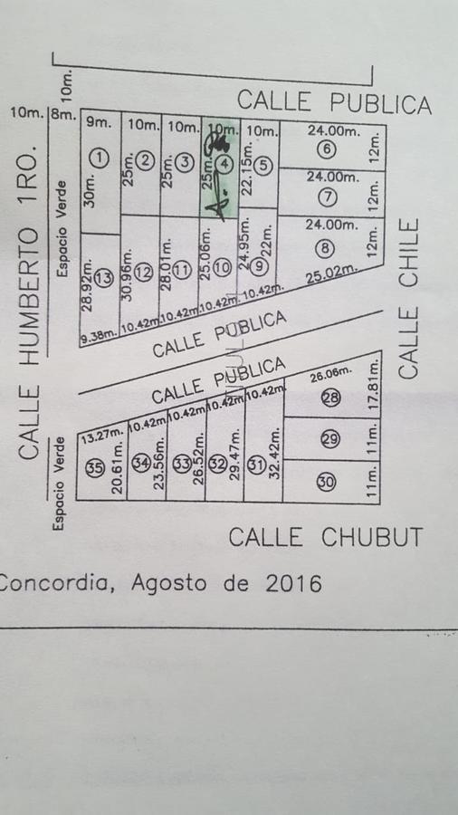 Foto Terreno en Venta en  Concordia,  Concordia  Calle Pública entre Chile y Humbero Primero