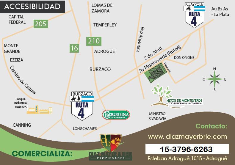 Foto Terreno en Venta en  Burzaco,  Almirante Brown  Av. Monteverde (Ruta 4)  y Figueroa. Manzana 175 Lote 12