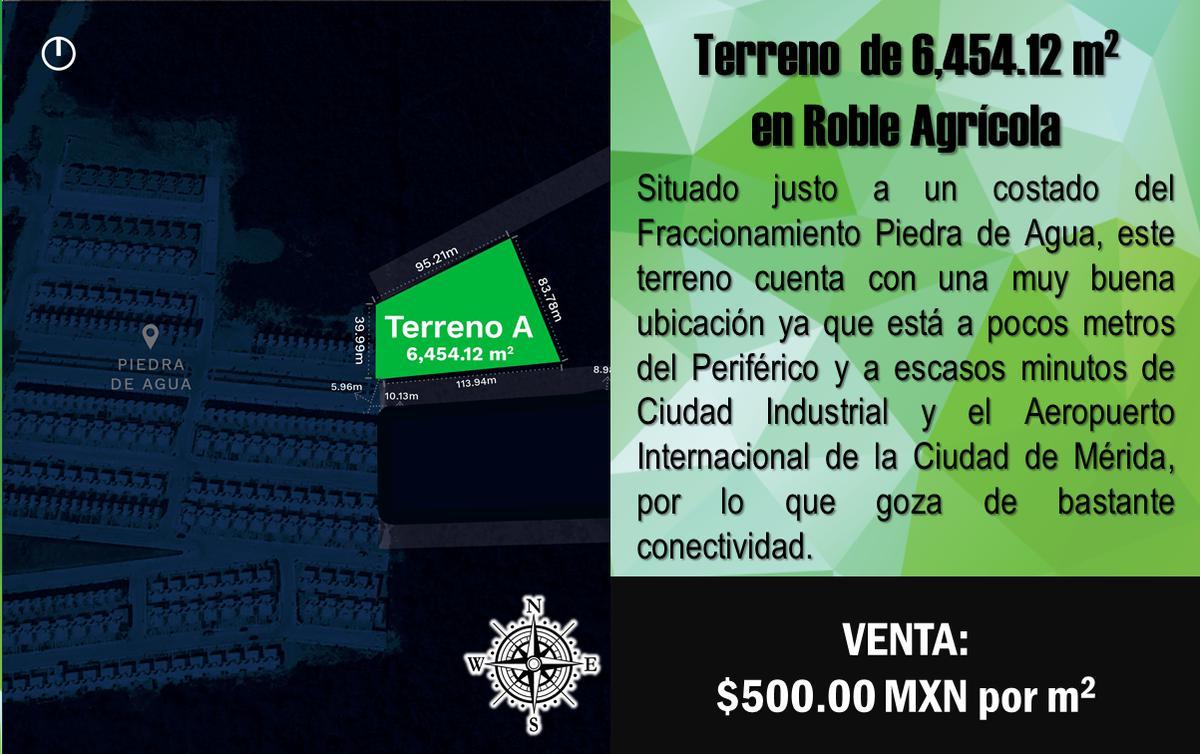 Foto Terreno en Venta en  Fraccionamiento Roble Agrícola,  Mérida  Terreno de 6,454.12 m2 en Fracc. Roble Agrícola, Mérida