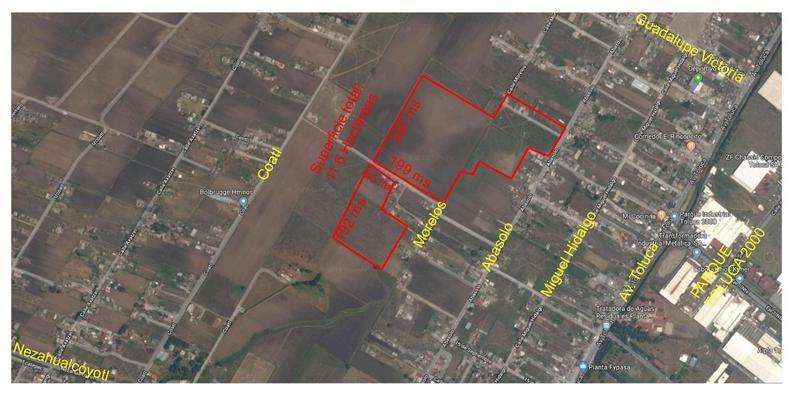 Foto Terreno en Venta en  Guadalupe,  Toluca  Se venden 2 terrenos atrás del parque Toluca 2000 TOLUCA, 8 hect. y 3.6 hect. uso suelo mixto.