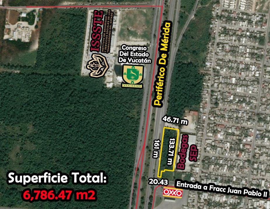 Foto Terreno en Venta en  Fraccionamiento Juan Pablo,  Mérida  Terreno De 6,786.47 m2 En  Esquina Periférico Poniente