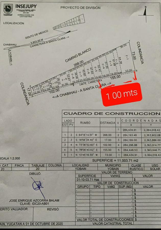 Foto Terreno en Venta en  Pueblo Chabihau,  Yobaín  TERRENO EN CHABIHAU- PRIMERA FILA