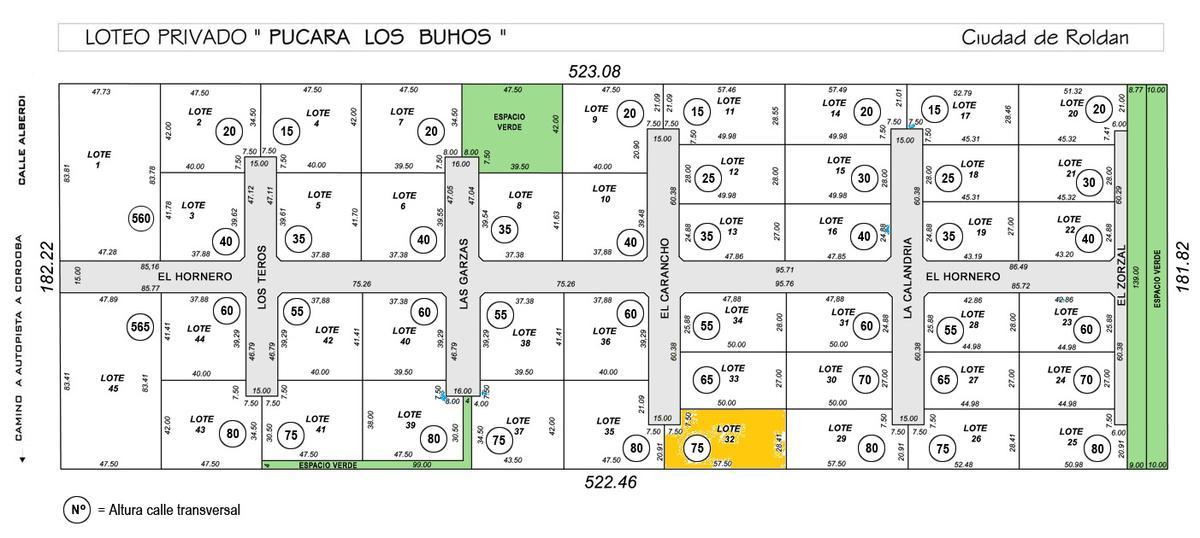 Foto Terreno en Venta en  Roldan,  San Lorenzo  Barrio Privado Pucara Los Buhos - Lote 32 - Roldán