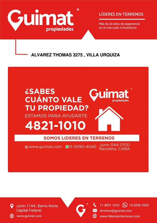 Foto Terreno en Venta en  Villa Urquiza ,  Capital Federal  ALVAREZ THOMAS al 3200