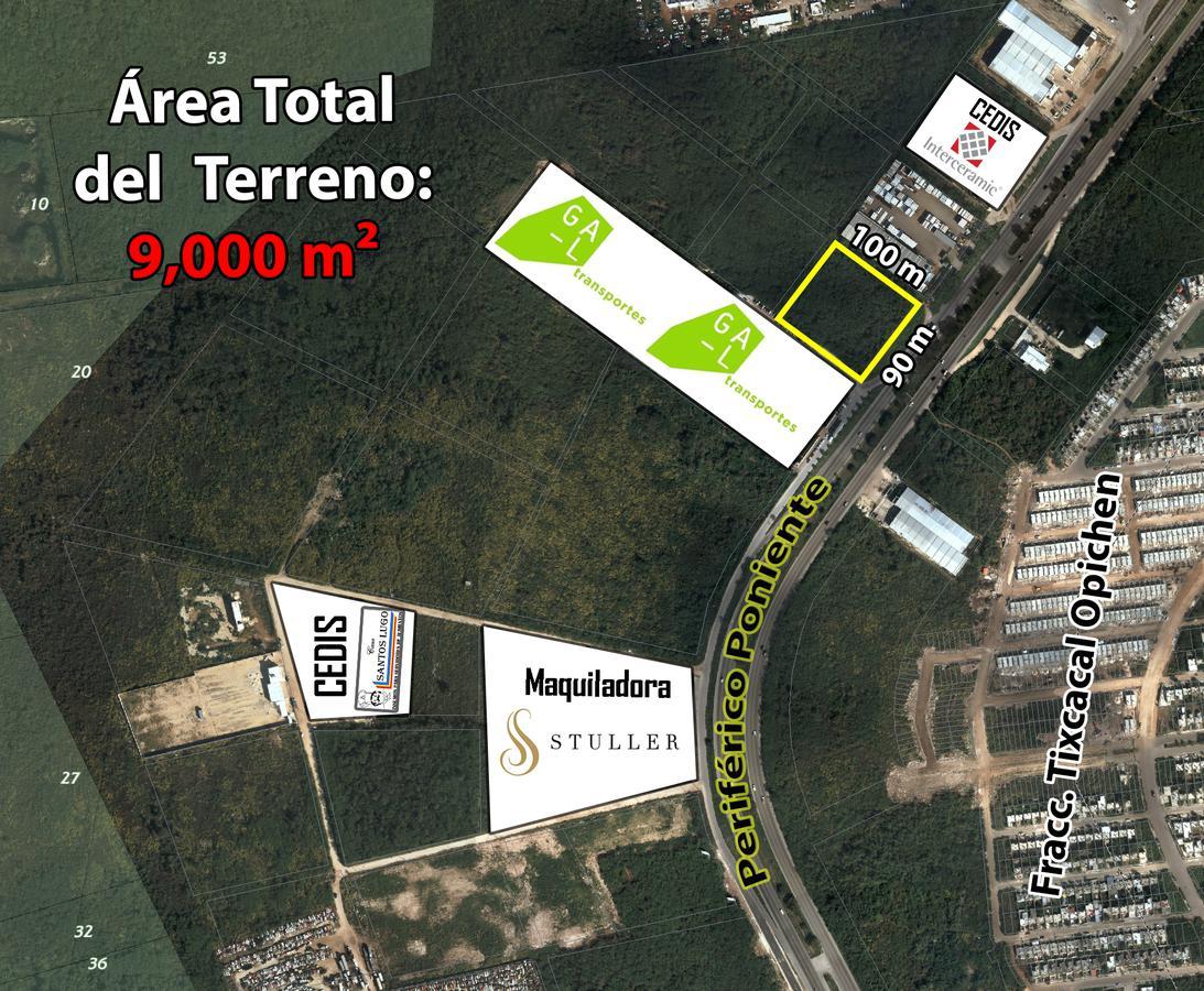 Foto Terreno en Venta en  Ampliacion Ampliación Tixcacal Opichen,  Mérida  Terreno 9,000 m2 Periférico Poniente