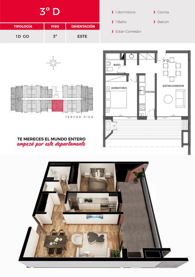 Foto Departamento en Venta en  Av. Peron ,  Yerba Buena  Las Rosas 1051 YB 3D