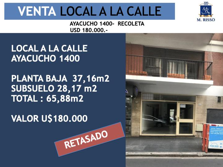 Foto Local en Venta en  Recoleta ,  Capital Federal  LOCAL A LA CALLE AYACUCHO 1400, PB Y SUBSUELO