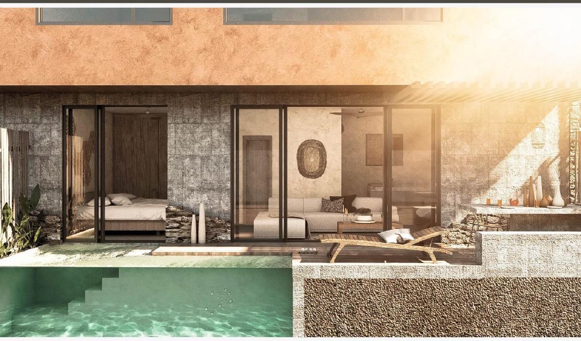 Foto Departamento en Venta en  La Veleta,  Tulum  Departamento planta baja de 1 recamara, con patio y piscina privada