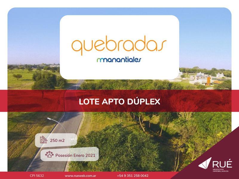 Foto Terreno en Venta en  Manantiales ,  Cordoba Capital  Lote en venta en Quebradas de Manatiales. 250 m2. Apto dúplex.